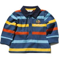 Baby Boy Navy Long Sleeve Cotton Collar Stripe Pattern Rugby T-shirt - Navy