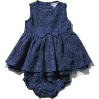 Babaluno For Minoti Baby Girl Navy Sleeveless Lace Bow Front Layer Dress & Knickers Set - Navy