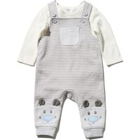 Baby Boy Soft Cotton Grey Stripe And Cream Long Sleeve Top Bear Dungarees Set - Grey