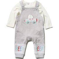 Baby Boy Cream And Grey Striped Car Applique Long Sleeve Top Dungarees Set - Grey