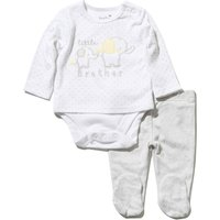Kids Baby boy long sleeve little brother polka dot elephant print body suit and leggings outfit set