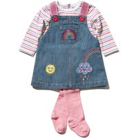 Kids Baby Girl Sequin Rainbow Print Denim Pinny Dress Long Stripe Top and tights three piece outfit