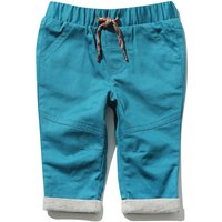 Baby Boy Cotton Jersey Elasticated Drawstring Waist Rainbow Stitch Trousers - Teal