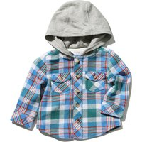 Baby Boy Cotton Long Sleeve Hooded Check Shirt - Blue