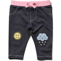 Kids Baby girl cotton stretch embroidered Sun and cloud denim jeggings  - Denim