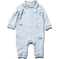 Kids Baby Boys Blue polo neck Dinosaur and car embroidered detail long sleeve cotton stretch romper suit  - Blue