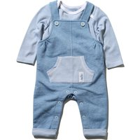 Kids Baby Boy Blue Dungarees and long sleeve stripe top popper fastening two piece outfit set  - Blu