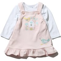 Kids Baby Girl long sleeve floral bird embroidered pinny dress and bodysuit set  - White and Pink