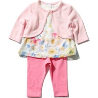 Baby Girl Cotton Stretch Long Sleeve Floral Butterfly Top Leggings And Cardigan Set - Pink