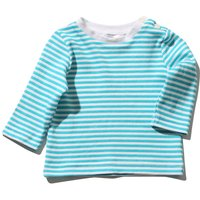 Baby Boy Cotton Long Sleeve Round Neck Blu And White Stripe Pattern T-shirt - Blue And White