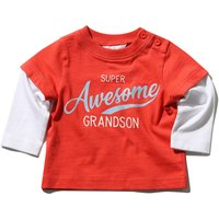 Kids Baby boy cotton stretch long sleeve Super awesome grandson slogan t-shirt  - Red