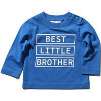 Kids Baby Boys Blue Long Sleeve Best Little Brother Slogan Round Neck Button Side Casua Top  - Blue