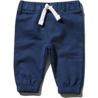 Kids Baby boy plain cotton jersey elasticated waist cuff ankle joggers  - Navy