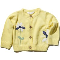 Kids Baby girl Floral embroidered cardigan with long sleeves  - Yellow
