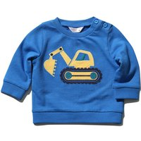 Kids Baby Boys Blue Long Sleeve Yellow Digger Truck Design Round Neck Side Button Jumper Top  - Blue
