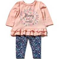 Baby Girl Pink Long Sleeve Nanny Said I Could Slogan Top Floral Print Leggings Casual Outfit Set - Pink