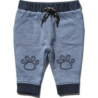 Kids Baby boy blue soft cotton stretch animal lion paw embroidered cuffed ankle elasticated waist jo