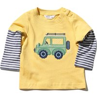 Kids Baby boy cotton stretch long layered sleeve stripe print Truck embroidered t-shirt  - Yellow