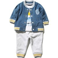 Kids Baby boys long sleeve giraffe top cuffed jogger trousers and jacket 3 piece casual outfit set  - Denim