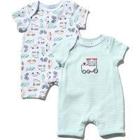 Kids Baby boy train rompers two pack with short sleeves G - Green