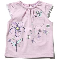 Kids Baby Girls T-shirt with Floral Print and Cap Sleeves  - Purple