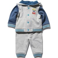 Kids Baby Boys Long Sleeve Hoody Jacket transport slogan print top and Cuffed Jogger Trouser outfit set  - Grey