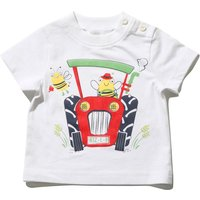 Kids Baby boy tractor t-shirt with short sleeves  - White