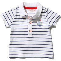 Kids Baby boy boat embroidered striped polo shirt with short sleeves  - White
