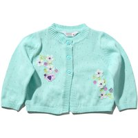 Kids Baby girl floral embroidered cardigan long sleeve half button front cotton  - Mint