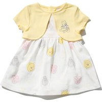 Kids Baby girl Winnie the Pooh dress mock cardigan short sleeves with integrated bodysuit  - White