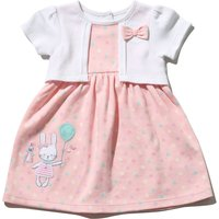 Kids Baby girl pink spot dress mock cardigan with knickers  - Pink