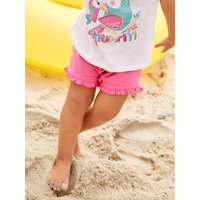 Kids Baby girl pink frill shorts with a bow front and a elasticated waist - Pink