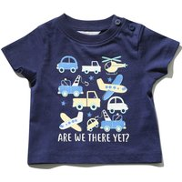 Kids Baby boy are we there yet slogan t-shirt with short sleeves  - Navy