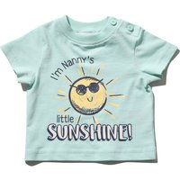 Kids Baby boy nanny slogan t-shirt with short sleeves  - Mint