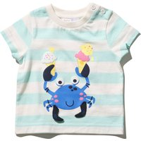 Kids Baby boy striped crab t-shirt with short sleeves G - Green