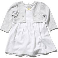 Kids Baby girl sheep dress with long sleeves and mock cardigan  - Grey
