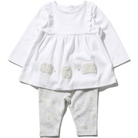 Kids Baby girl sheep top and leggings outfit set  - White