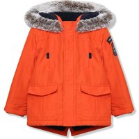Kids Boys parka jacket with long sleeves and a hood  - Tangerine