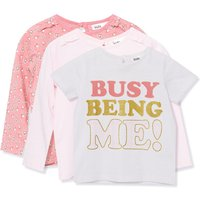 Kids Girls slogan floral t-shirts three pack with short and long sleeves  - Cream