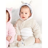 Kids Baby dog fleece pram suit with long sleeves and a hood  - Stone