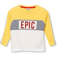 Kids Boys stripe slogan t-shirt with long sleeves  - White