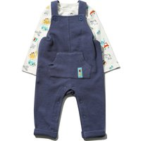 Kids Baby boy dinosaur top and dungarees set with long sleeves  - Navy