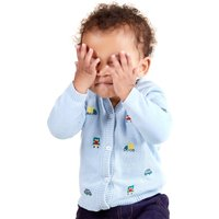 Kids Baby boy car embroidered hooded cardigan with long sleeves - Blue
