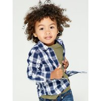 Kids Boys cotton navy check shirt long sleeve button front classic collar skull chest embroidery  -