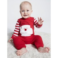 Kids Baby Santa Claus Christmas romper  - Red