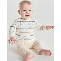 Kids Baby striped sweatshirt and velour joggers set - Cream