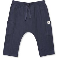 Kids Baby cotton joggers with tie waist - Navy