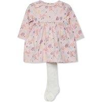 Floral Print Dress And Tights Set (Newborn-18mths) - Pink