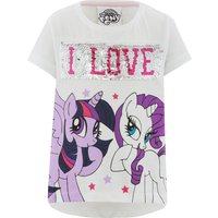 My Little Pony girls white short sleeve two way reversible unicorn sequin character print t-shirt  -