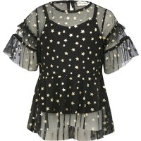 Kite and Cosmic girls black mesh frill sleeve overlay gold star t-shirt with black camisole layer  - Black
